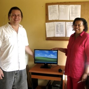 Computer donation to Mt. Meru Hospital from Orphans Foundation Fund installed by Brendon Church